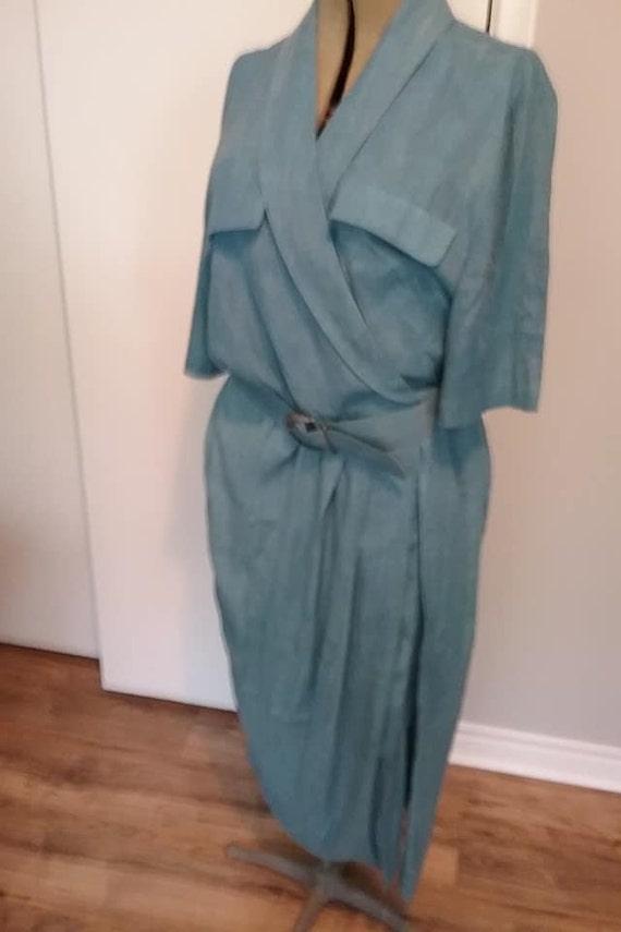 Vintage Algo Career Dress, Belted Wrap, Pencil Silhouette