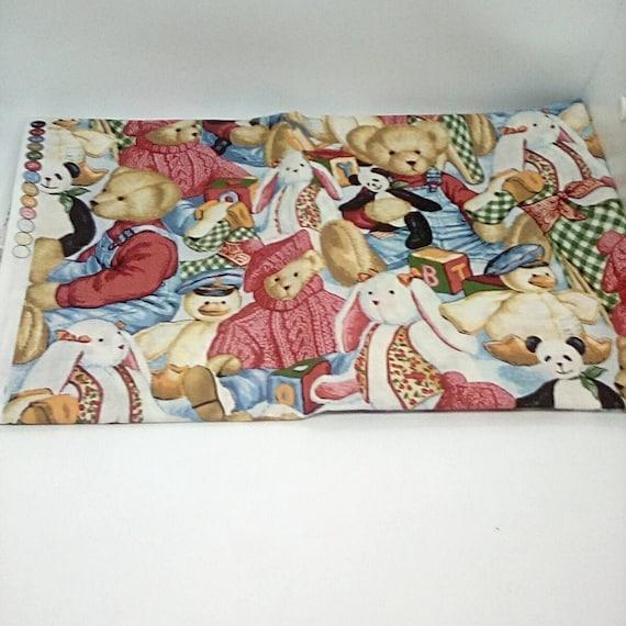 1 Yard Teddy Bears and Toys Cotton Fabric, Blue Jean Teddy Bears Novelty Fabric