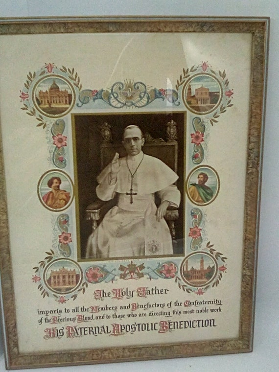 Framed Pope Pius XII Vintage Picture, Catholic Pope Vintage Souvenir Print Framed, Holy Benediction 1947, The Holy Father