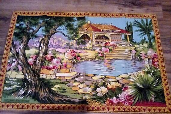 Vintage Cotton Bark Cloth Tea Towel, Sonacott France Cap Ferrat Riviera, Large Towel or Wall Hanging