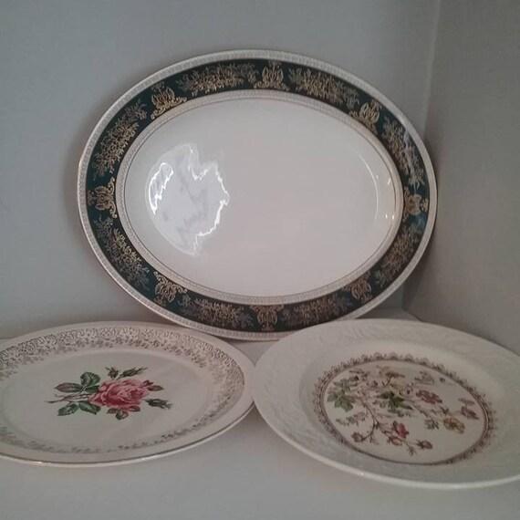 Vintage Mismatched Serving Platters