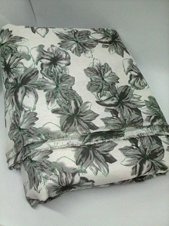Cotton Floral Fabric, Toile Style Black and White with a Fine Green Outline