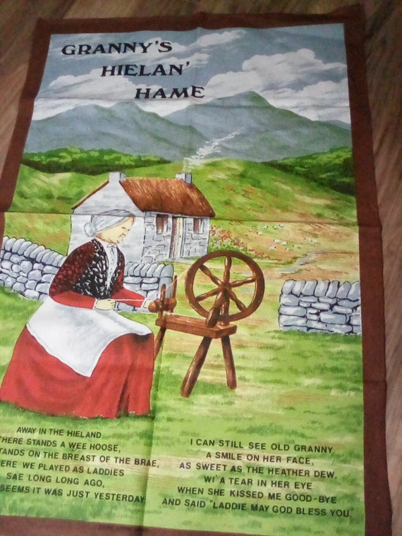 Vintage Cotton Tea Towel, Scottish Souvenir Tea Towel, Scottish Poem of the Highlands, Granny's Hielan' Hame