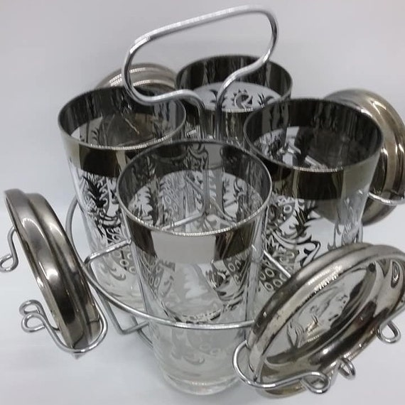 1960's Kimiko Guardian Ware Drink Glasses, Coasters and Caddy