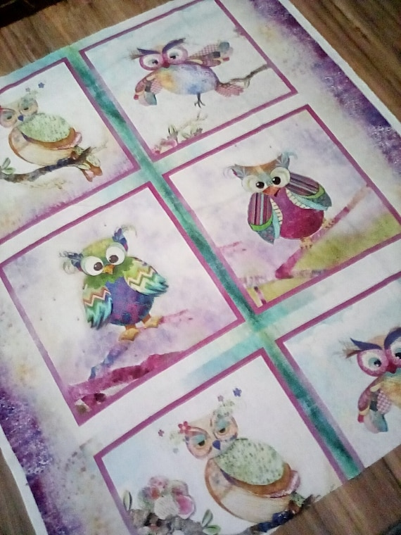 1 Meter Cotton Owl Print Fabric, Owls Cotton Material
