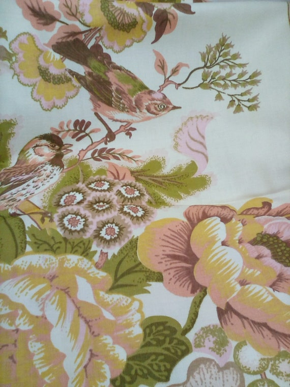 1.3 Yards Waverley Scotchguard Fabric, Floral and Birds in Pastel Colors, Victorian Inspired Floral Fabric