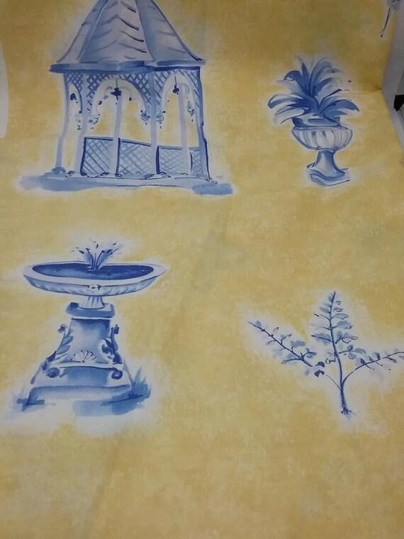 4+ Yards of Brunschwig & Fils Material, Garden Follies Print, Decorator Fabric