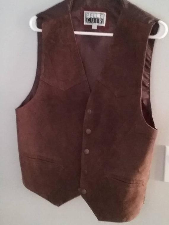 Men's Western Suede Leather Vest, Gentleman's Waistcoat,