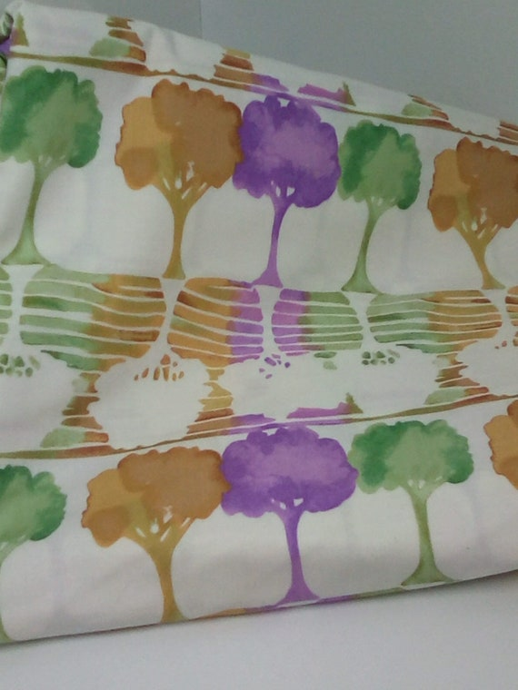 3 Yards of Pastel Trees Print, Watercolor Tree Print Fabric, Soft Color Watercolor Trees Cotton