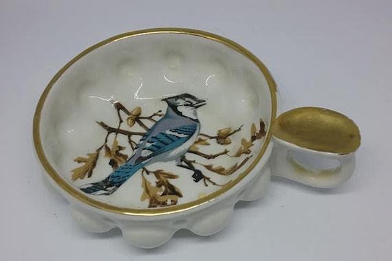 French Porcelain Ashtray, Single Cigarette Ashtray with Holder,