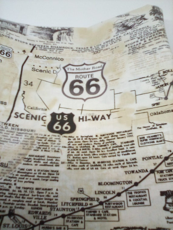 Route 66 Print Cotton Fabric, 100% Cotton for Face Mask, Route 66 Map Print Material