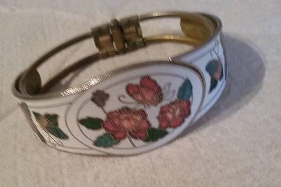 Vintage Floral Cloisonne Cuff,