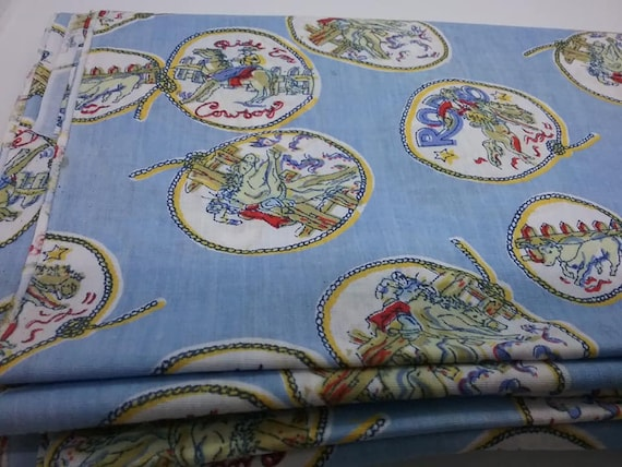 Vintage Child's Cowboy Cotton Material, 3 Uncut Yards Fabric,