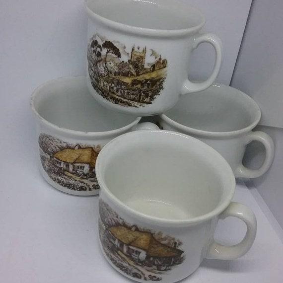 Vintage English Ironstone Kronester Cups, Bavarian Scenes