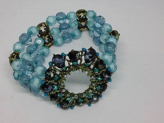 Vintage Rhinestone Stretch Bracelet, Stretch Bracelet, Vintage Stretch Rhinestone Bracelet, Blue Vintage Stretch Bracelet, Gift for Wife