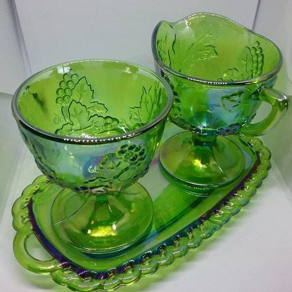 Green Carnival Glass Cream and Sugar Set, Carnival Glass Cream and Sugar Set, Green Harvest Grapes Carnival Glass, Cream and Sugar on Tray