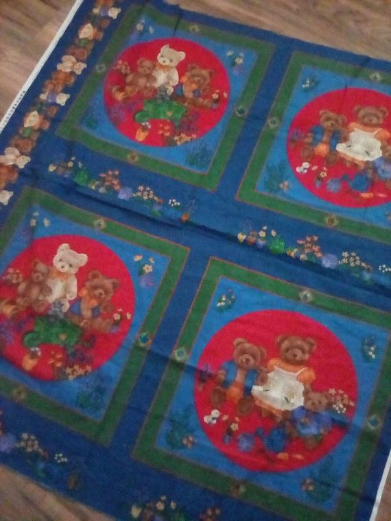 Cotton Fabric Panel, Teddy Bear Fabric Panel, Quilting Panel, Sewing Panel, Teddy Bear Theme