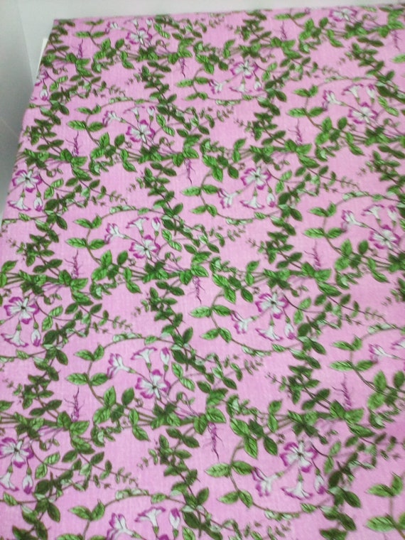 2 Yards Floral Cotton Fabric, Purple and Green Orchid Vines, Victorian Inspired Cotton Floral Print