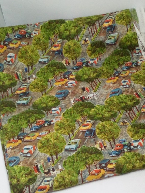 Quilting Cotton Fabric, Central Park Material, Vintage Cars Fabric, Central Park Novelty Fabric
