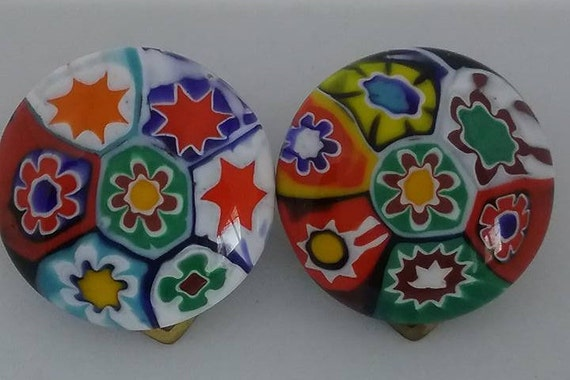 Vintage Italian Millefiori Glass Earrings,