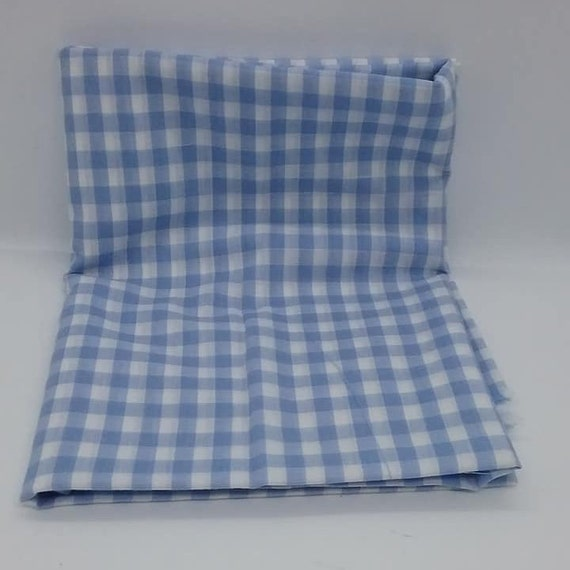 1 Yard Blue and White Gingham Fabric, Poly-Cotton