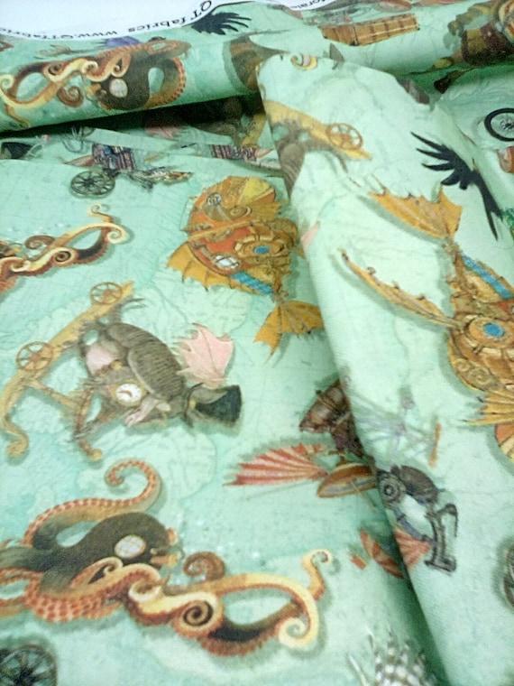 2 Yards Steampunk Print Cotton Fabric, Fantasy and Fiction Steampunk  Material, Steampunk Cotton Fabric