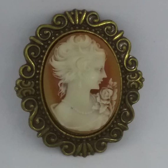 Vintage Lucite Cameo Brooch, Orange and white, Victorian Revival