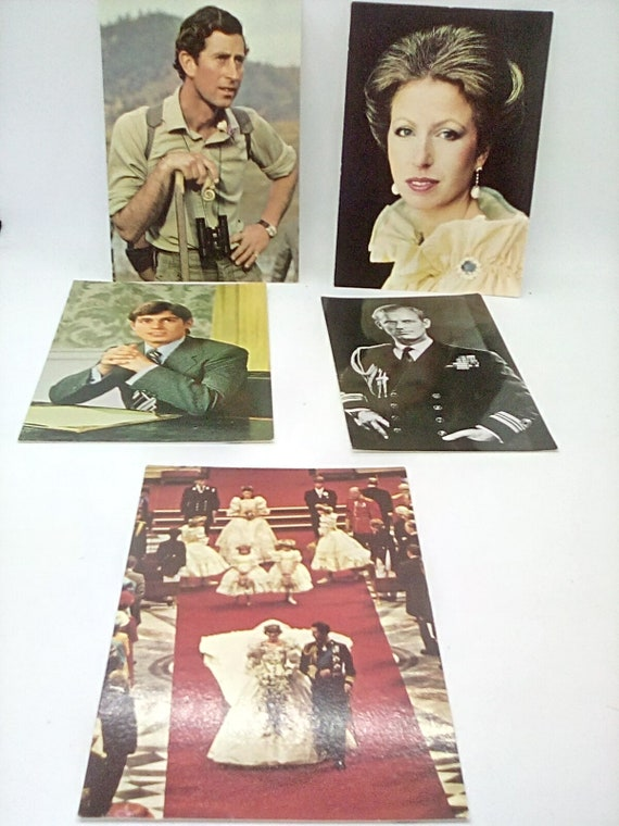 Vintage British Royalty Postcards, British Monarchy Postcards, Prince Charles, Princess Anne, Prince Andrew and Charles and Diana Wedding