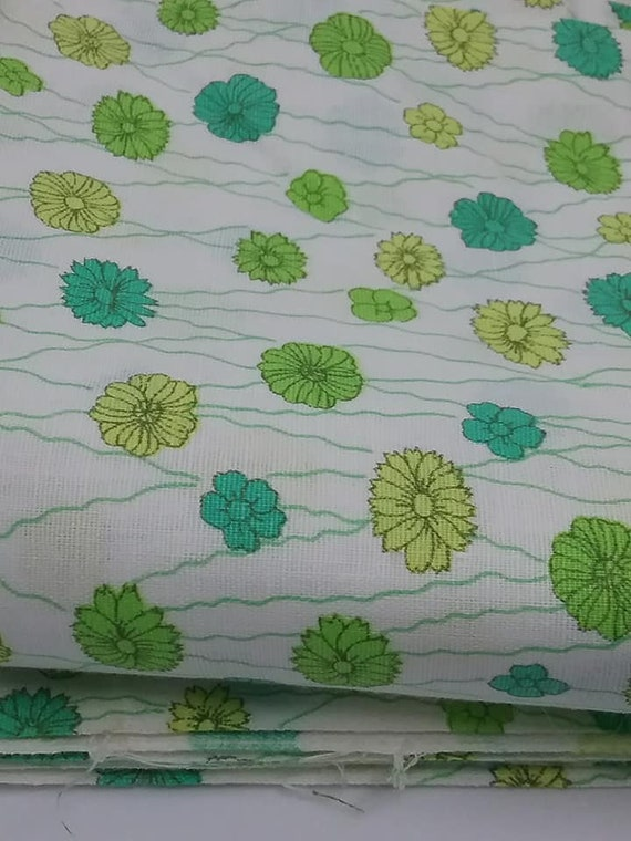 Mid-century Mod Style Floral Material, Turquoise, Green, Yellow, White Fabric,