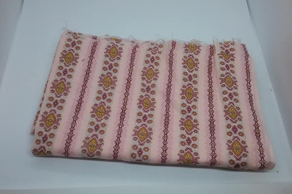 Floral Striped Material, Pale Pink, 2+ Yards Fabric,