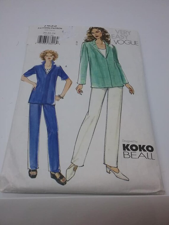Vogue Plus Size Sewing Pattern, Designer Koko Beall, Top and Pants