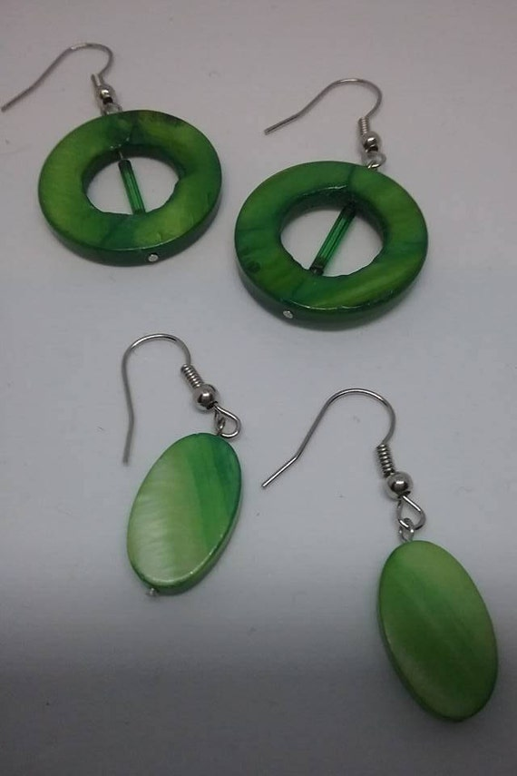 Green Dyed Mother of Pearl Earrings,