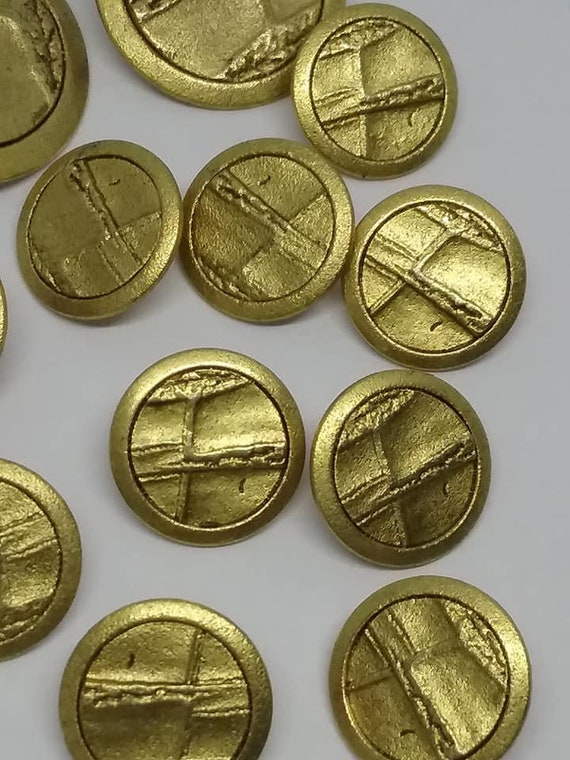 Vintage Brass Buttons, Set of 12