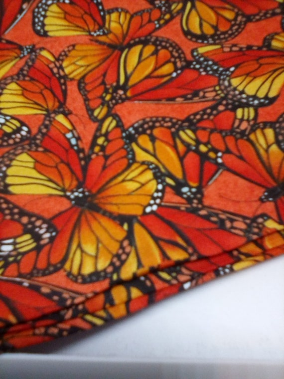 1 Yard Cotton Fabric, Monarch Butterflies on Orange Cotton Fabric, Butterflies Cotton Material
