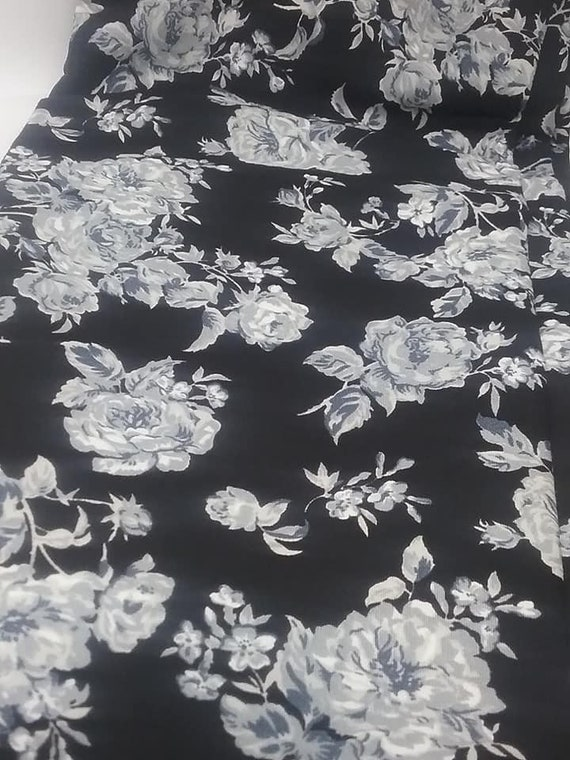 Black and White Roses Material, 2+ Meters Fabric, Cotton Poplin Material