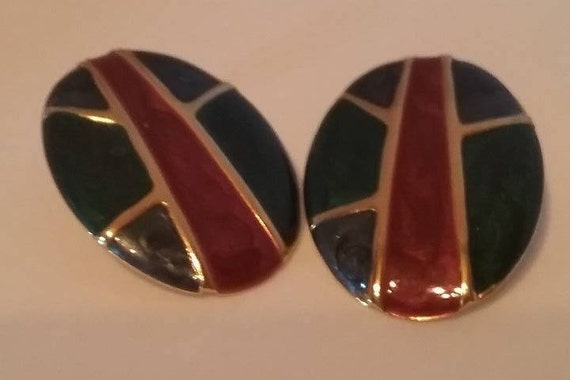 Vintage Art Deco Pierced Earrings, Vintage Enamel Geometric Earrings, 80s Retro Enamel Pierced Earrings, Green and Burgundy Vintage Earrings