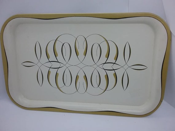 Mid-Century Mod Atomic Design Tin Tray, Eames Style Serving Tray
