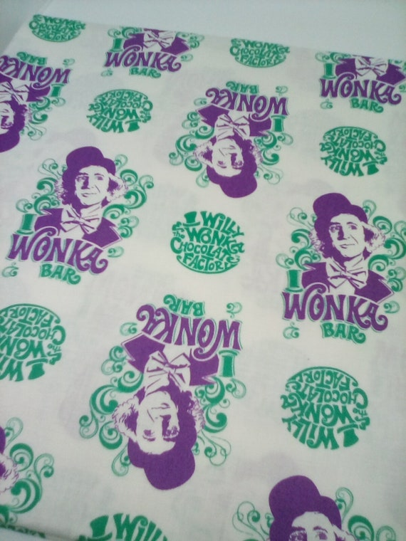 1 Yard Willy Wonka Cotton Licensed Fabric, Willy Wonka and the Chocolate Factory  Novelty Fabric, Willy Wonka Material
