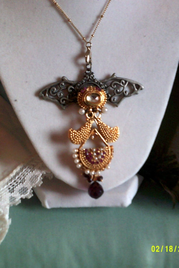 Steampunk Wing Pendant Necklace,