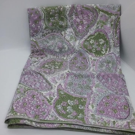 Cotton Material, Floral Abstract, Olive Green and Purple, 2 Yards Fabric,