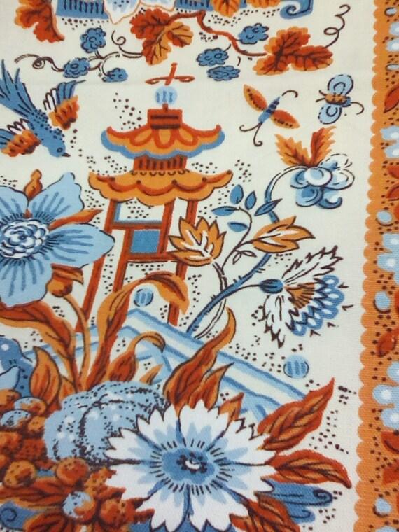 1.3 Yards Retro Floral Fabric, Blue and Orange, Waverly Original,Scotchguard, Mid-century Modern Look