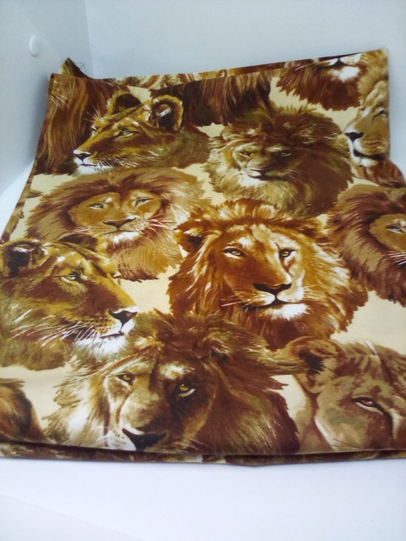 1 Yard Lions Print Fabric, Wild Cats Material, Brown Lion Print Fabric