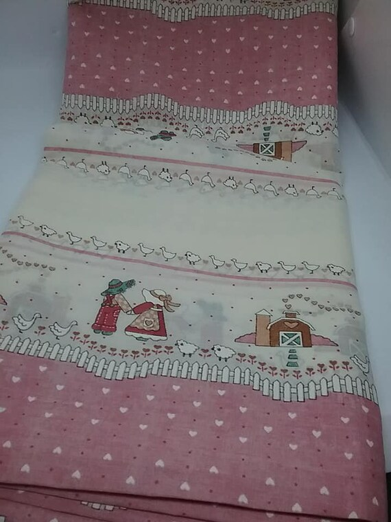 Retro 80's Folk Art Fabric, Pink and White Child Theme Material, Sheer 4 Yards