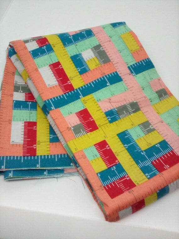 1.5 Metre Cotton Novelty Fabric, Rulers Novelty Material, Riley Blake Design Fabric