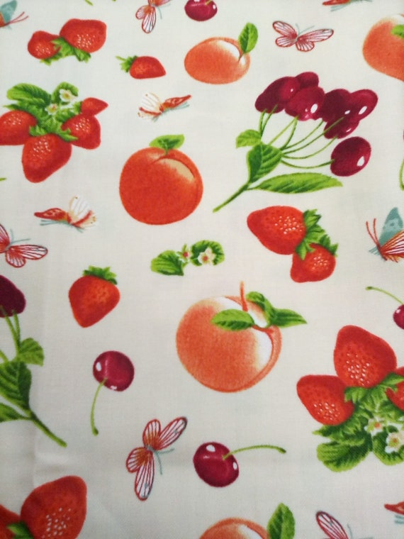 2 Yards Cotton Novelty Fabric, Fruit Print Material, Patrice Yagen Design
