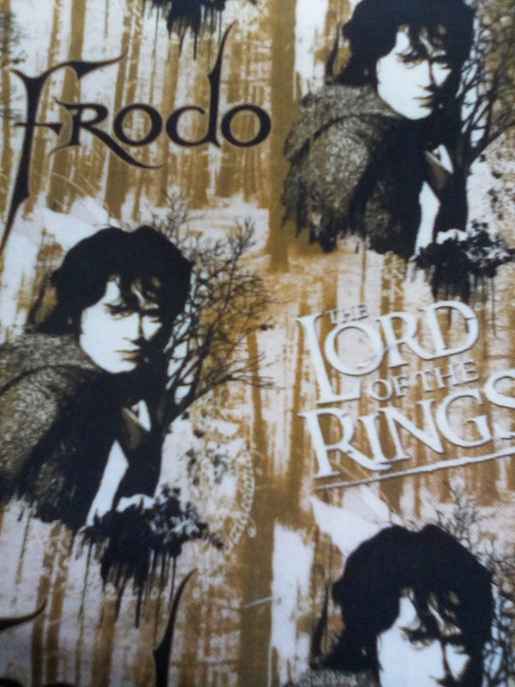 1 Yard Licensed Novelty, Lord of the Rings Frodo Fabric, Black and Beige Cotton Novelty Material