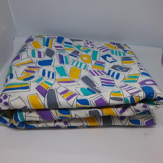 Retro Mod Material, 4 Yards Printed Polyester Cotton Fabric, Purple, Blue Gold Geometric
