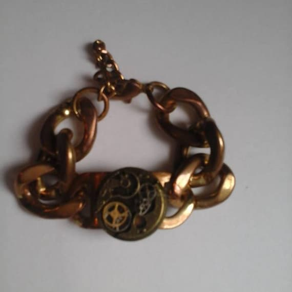 Men's Thick Brass Chain Link Bracele, ,Steampunk Gears,