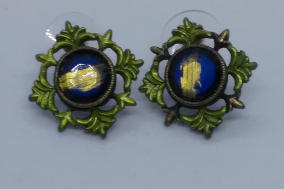 Vintage Pierced Cobalt Blue, with Gold Flake Earrings