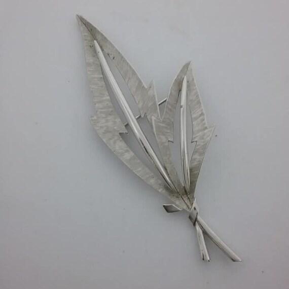 Crown Trifari Silver Leaves Brooch, Vintage